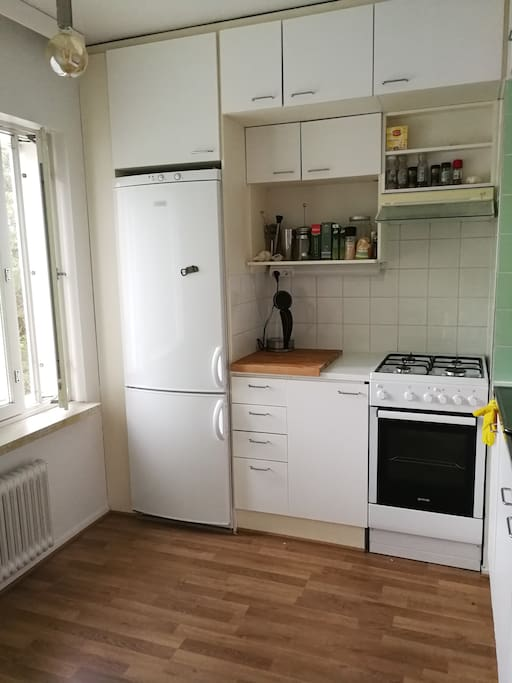 Kitchen with brand new fridge and gas cooker