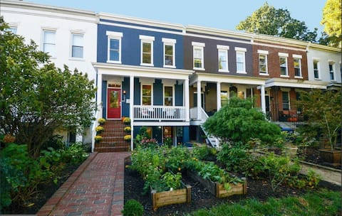 Beautiful Long Front Yard, Wide Porch and Garden.