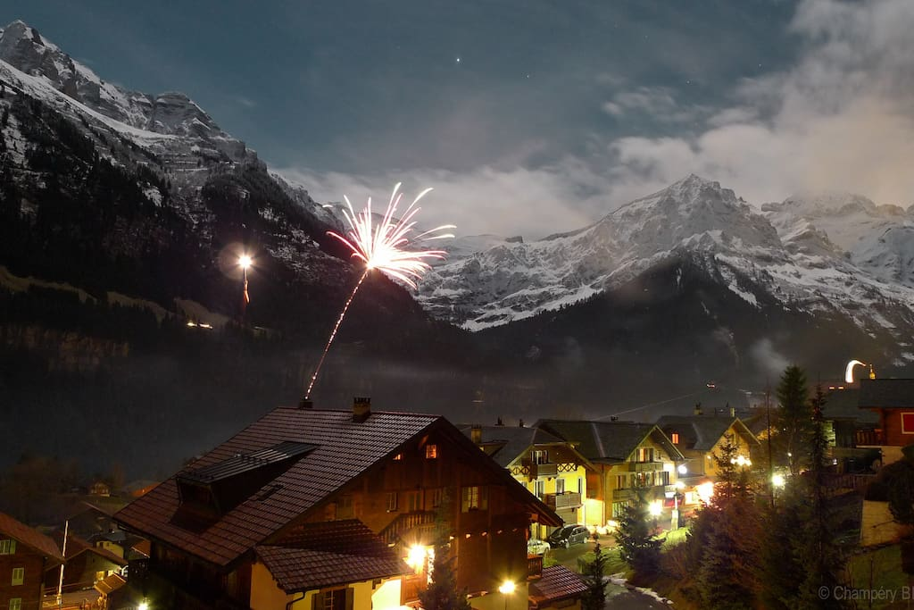 new year in Champéry, view from the balcony