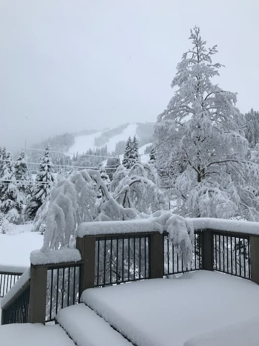 Spring snows and view from our deck of the Winter Park Resort