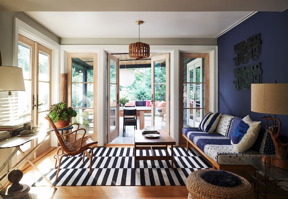 living room nook looking out onto screen porch