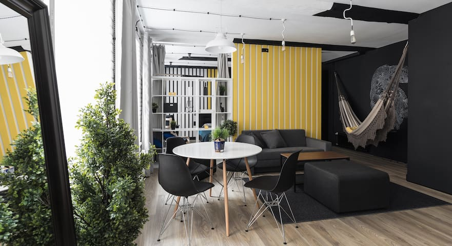 Designer studio with a hammock and a parrot