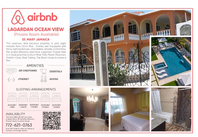 NON A/C ROOMS AVAILABLE MINS FROM OCHO RIOS TOWN