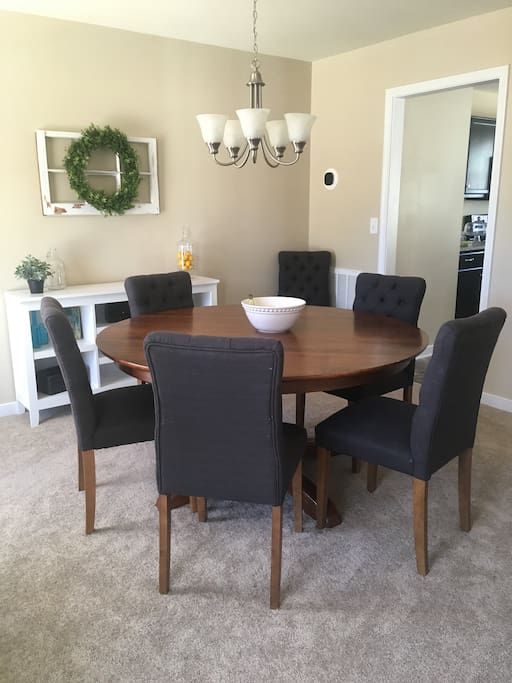 Dining room table with seats for seven guests