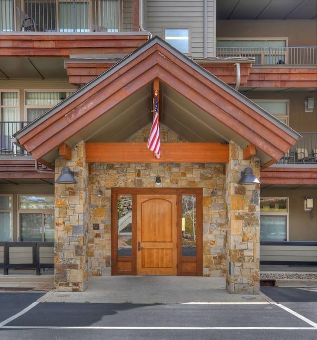 Front entrance to Durango Colorado vacation rental at Purgatory Resort in Peregrine Point Condominiums