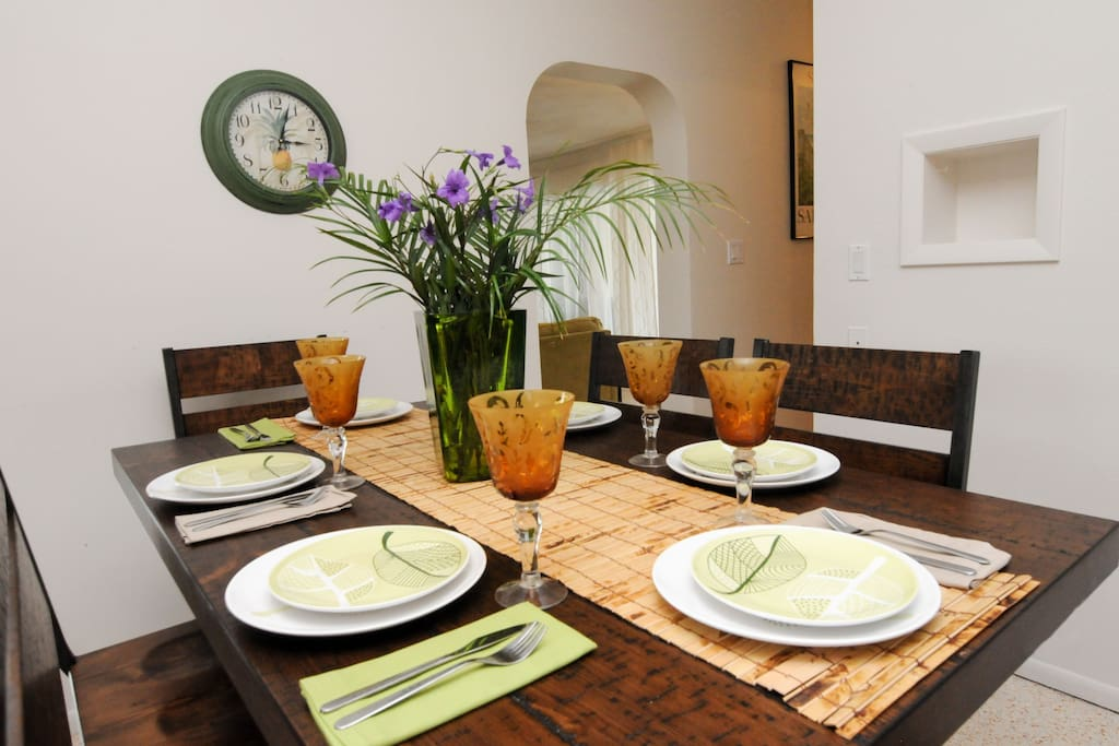 Enjoy a beautiful dinner at home or eat out in the many local restaurants