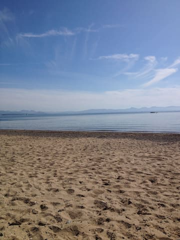 LLanbedrog beach with views of Harlech/Barmouth.
