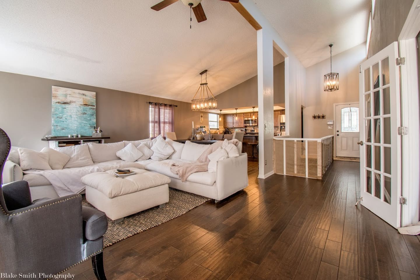 "Open concept living, dining and kitchen area with vaulted ceilings. Very spacious with comfy over sized couch and a 50"" LCD TV."