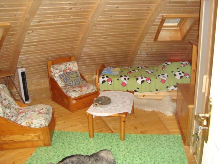La chambre comporte 2 lits:  un Grand lit notamment à gauche en 140 que l'on ne voit que sur une autre photo.
