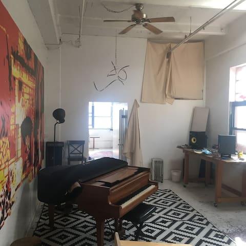 A Guest Room in a Bushwick Artist/Musician's Loft