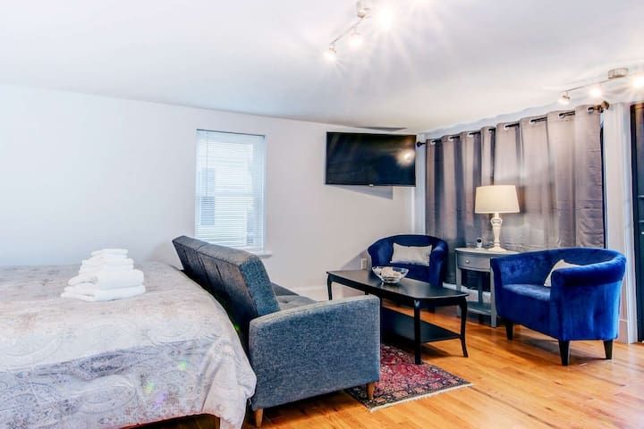 Kindred Spirits: Spacious Suite, King Bed, Historic Downtown, Walk to All, WiFi, Smart TV, Parking