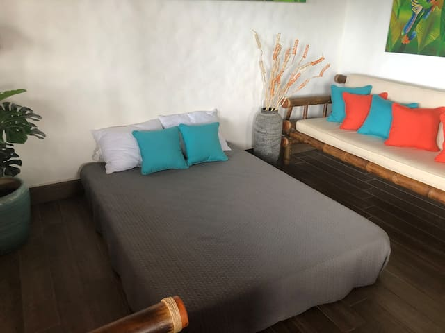 3rd bed set up on a  comfortable mattress in the living room, alternatively can also be set up in the guest bedroom, when needed or requested