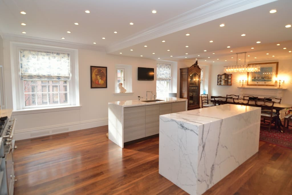Chef's Kitchen with 2 marble islands