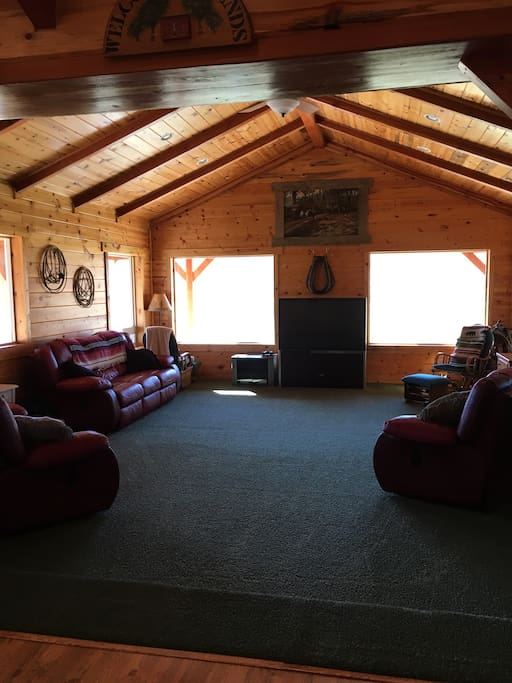 Main living area with views of the John Day river and mountains