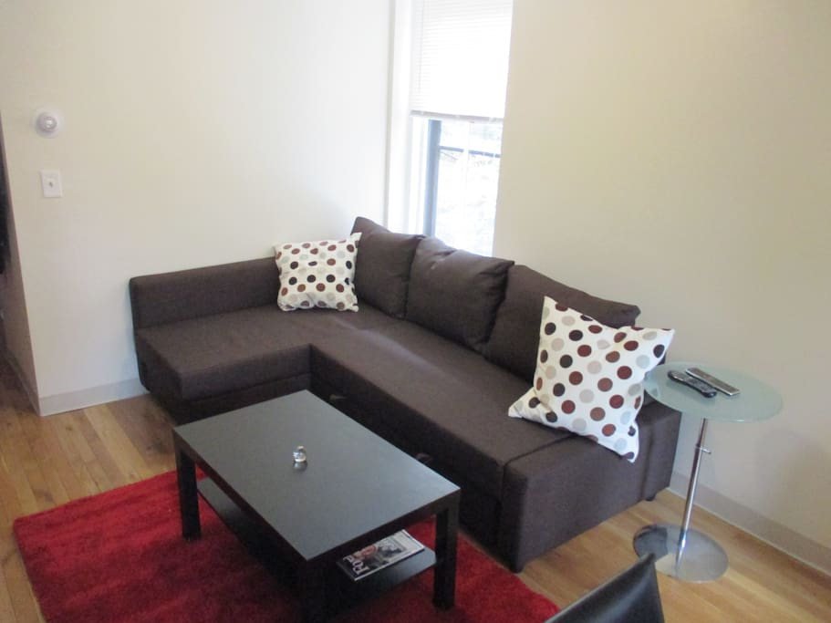 Comfy couch with coffee table