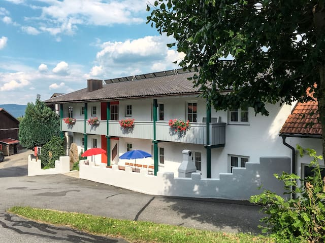 Comfortable holiday home located at 700 m altitude with a wonderful view of the Kirchaitnach valley and the mountain range of the Großer Arber
