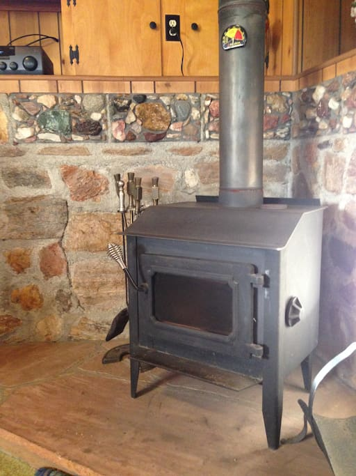 Wood Burning stove keeps you toasty during the cold Julian nights!