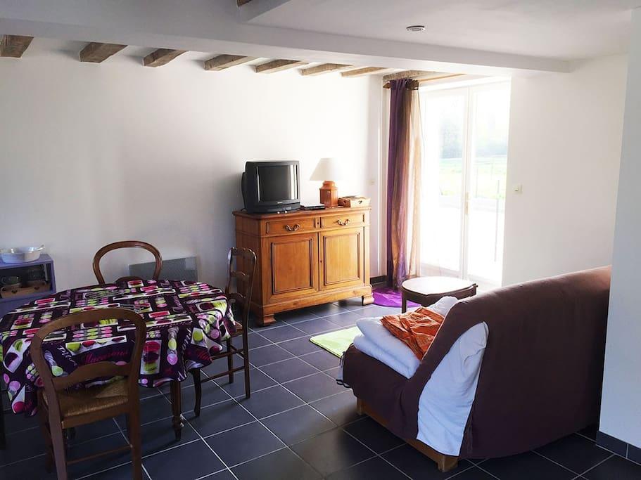 Au rez-de-chaussée, le séjour, la table à manger et la cuisine.  La porte fenêtre donne sur la terrasse privative. Un clic-clac permet ici de coucher 2 personnes en appoint !