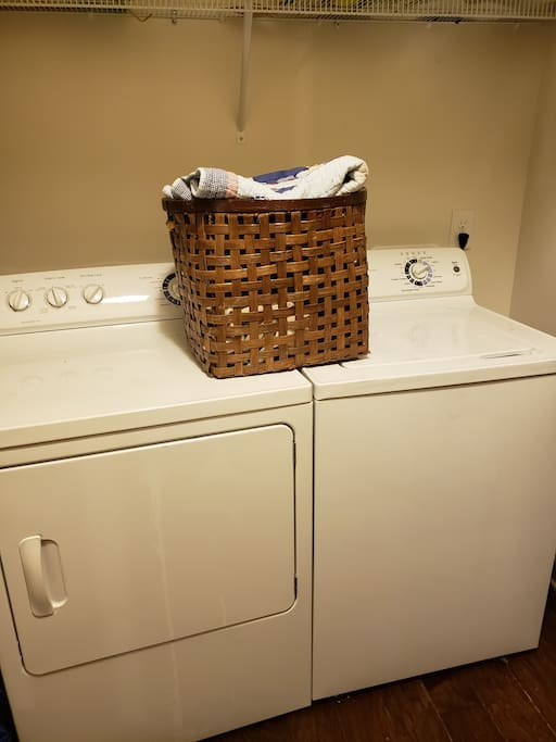 Washer & dryer complete with assorted laundry products