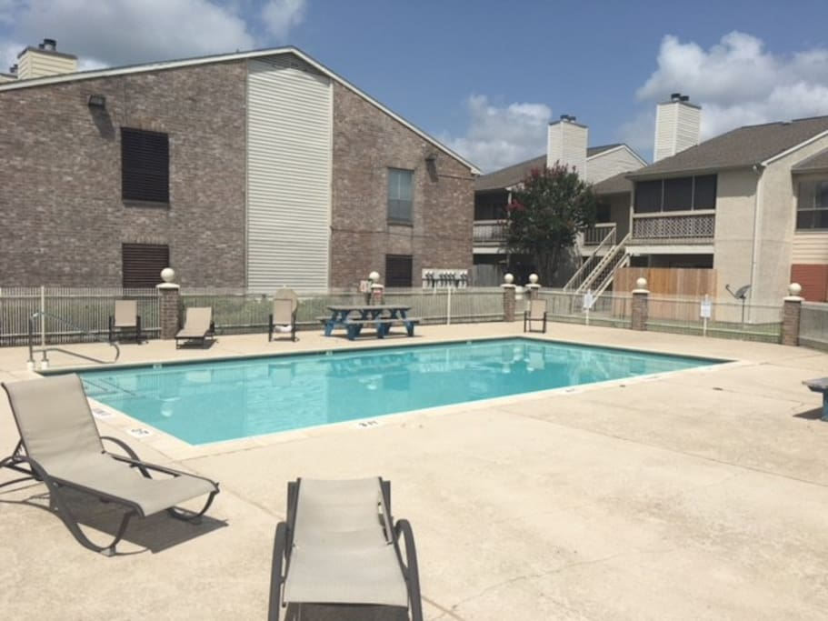 Common area pool on the east side of the complex. A 75 yard walk. Sunny clean and maintained weekly.