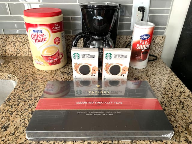 Complimentary Starbucks Instant Coffee  and Premium Tea selection. Self-serve coffeemaker with creamer/sugar.