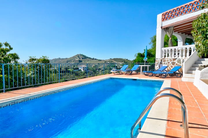 Hillside villa with pool, terraces, outdoor bar & amazing mountain/sea views!