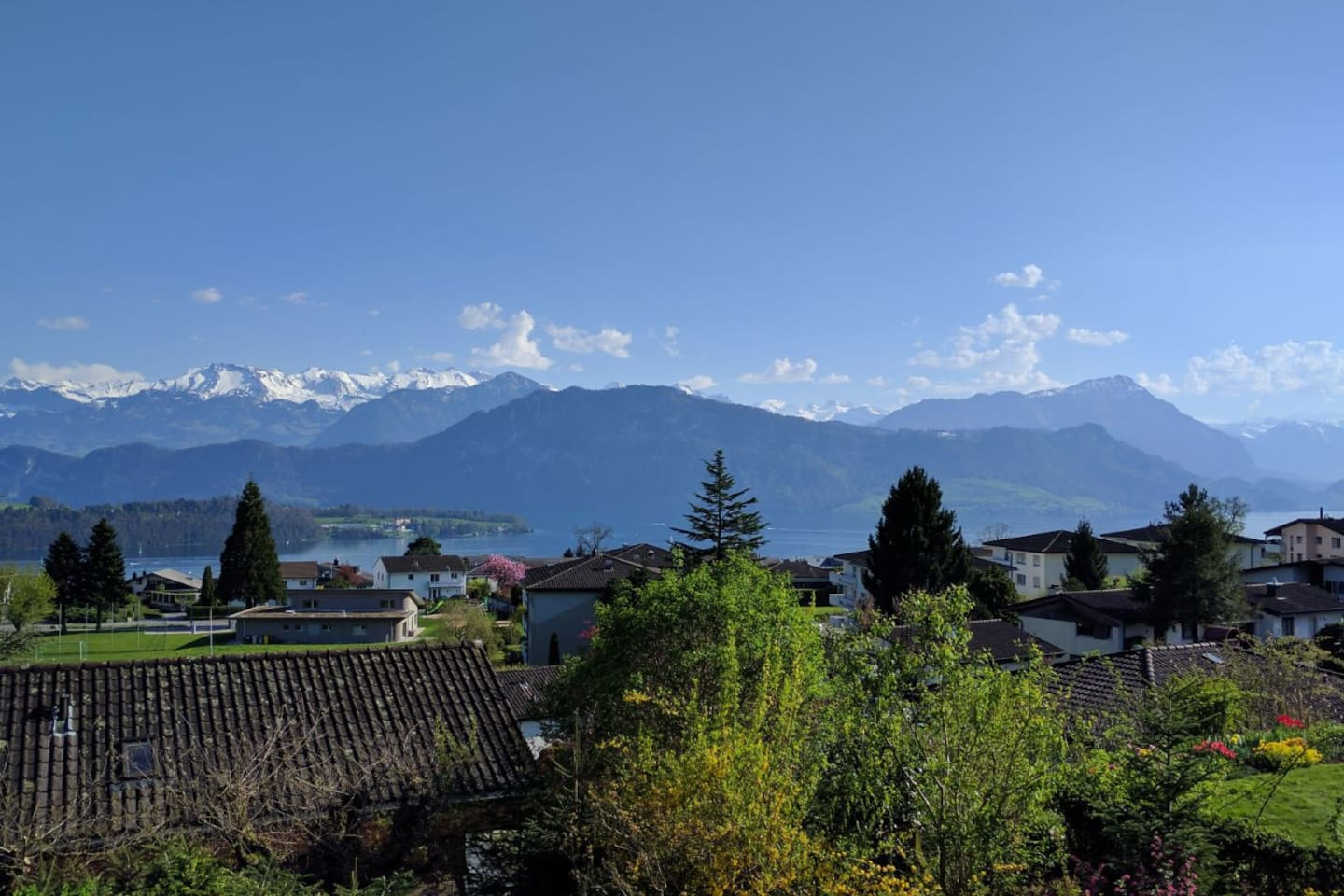 View on lake lucerne and mountains