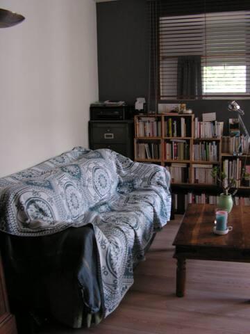 Salon - canapé, petite bibliothèque
