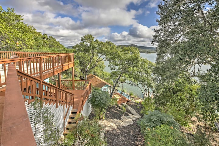 Waterfront Lakehills Home w/ Pvt Dock & Lake Views