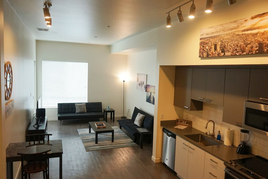 Beautiful brand new 1 bedroom suite open floor plan enough space for families, couples, or a solo Orange County getaway vacation/staycation!
