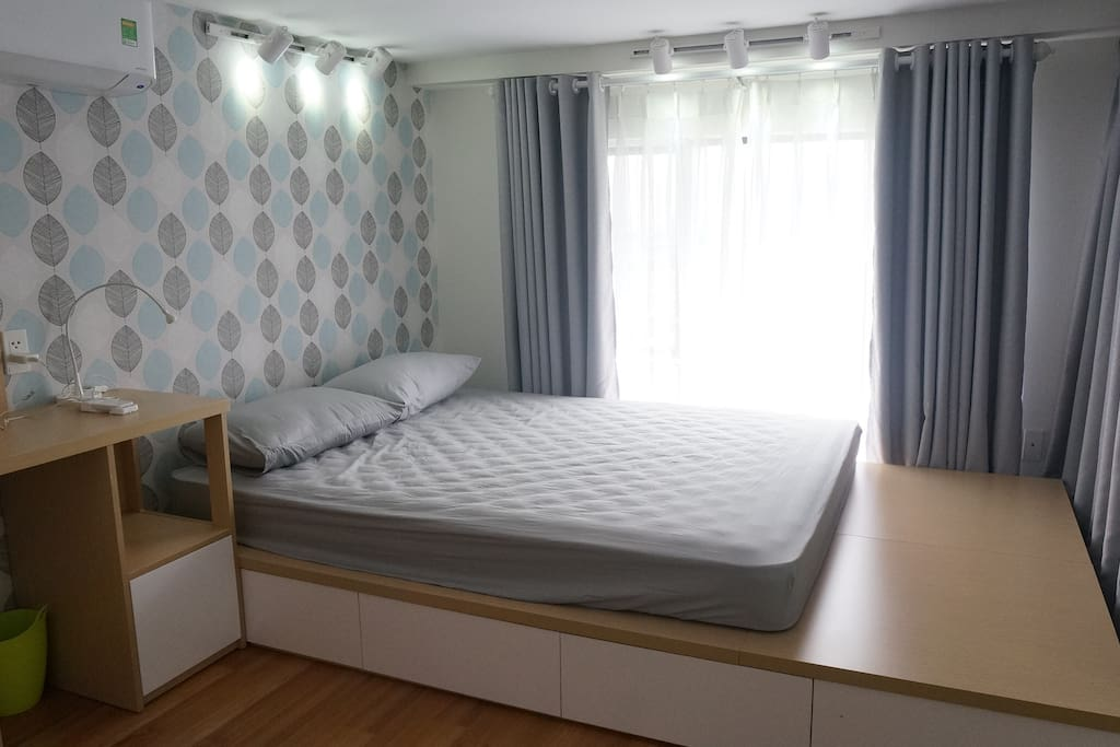 Your room is equipped with a queen-size bed, friendly working desk, one wardrobe and one closet
