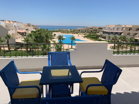 Chalet louly beach with sea &swimming pool view