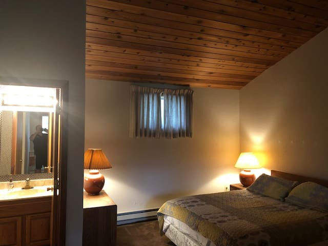 Loft Bedroom with full bathroom and queen size bed.