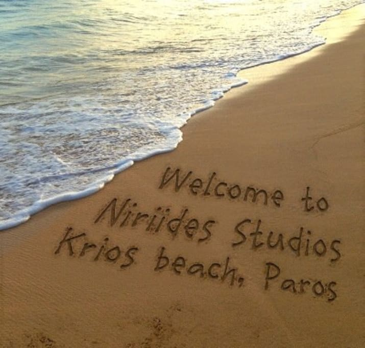 Our family-owned beach studios are located directly on beautiful Krios beach. 5 minutes to Parikia port/town