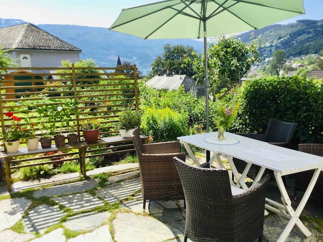 Patio with view of the lake