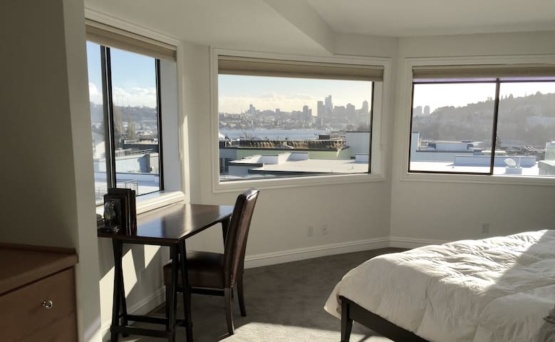 Penthouse view of downtown Seattle and Lake Union.