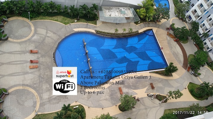 Homy 2BR Wifi+TV cable Tanglin @Pakuwon, 6pax GG3