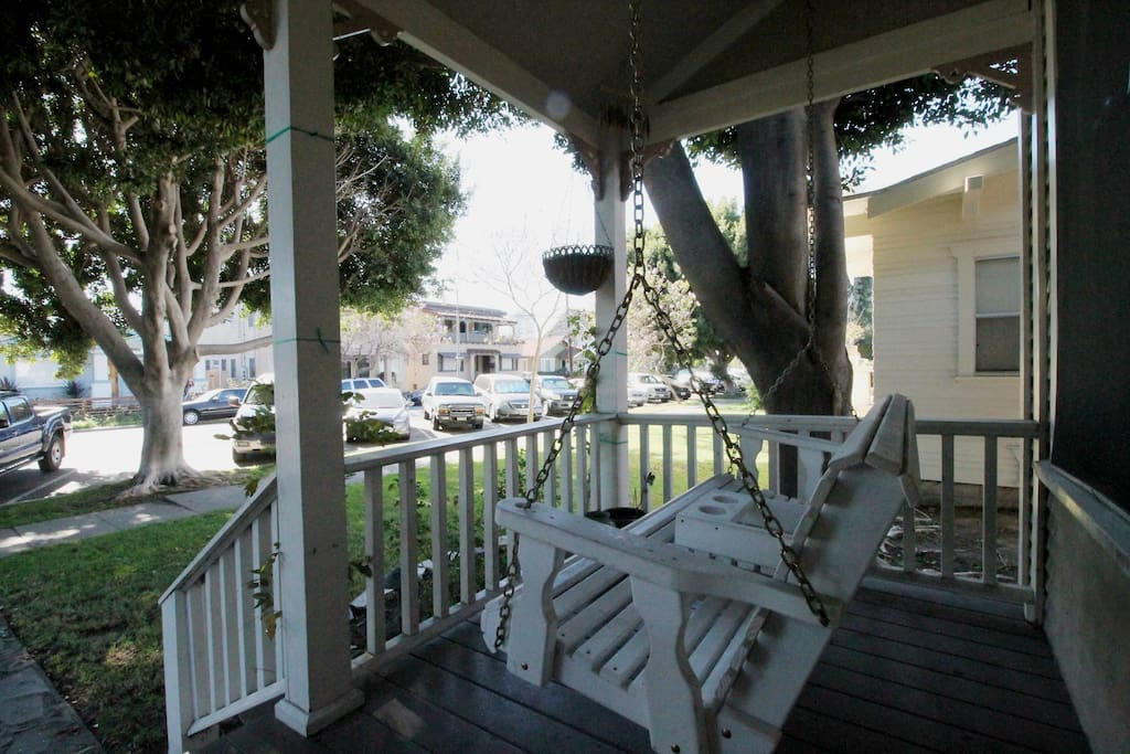Enjoy swinging on this swing with a cup of coffee or glass of wine.