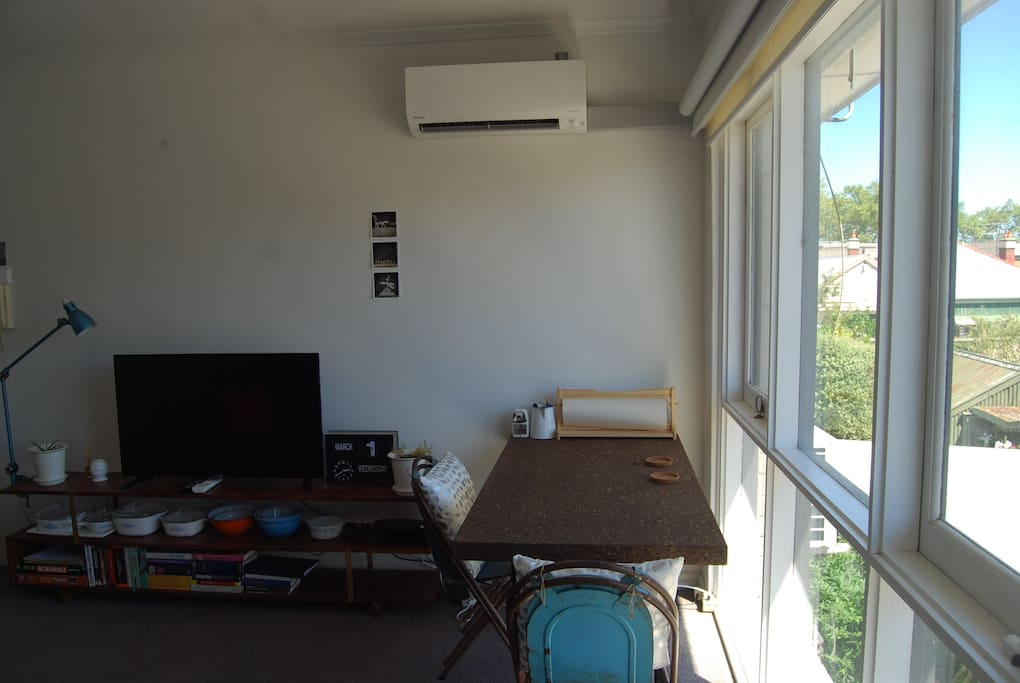 Plenty of light from the lounge window, plus aircon!