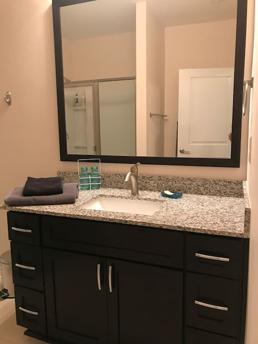 granite and wood and tile floors
