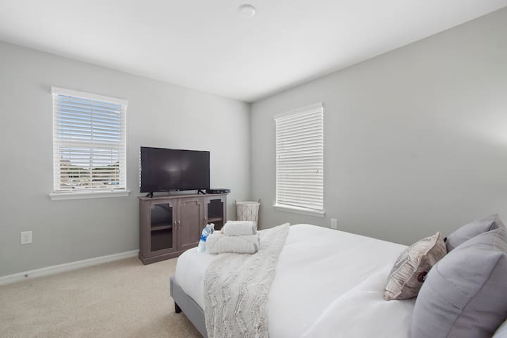 Enjoy the 43 in Smart TV in the privacy of your own bedroom
