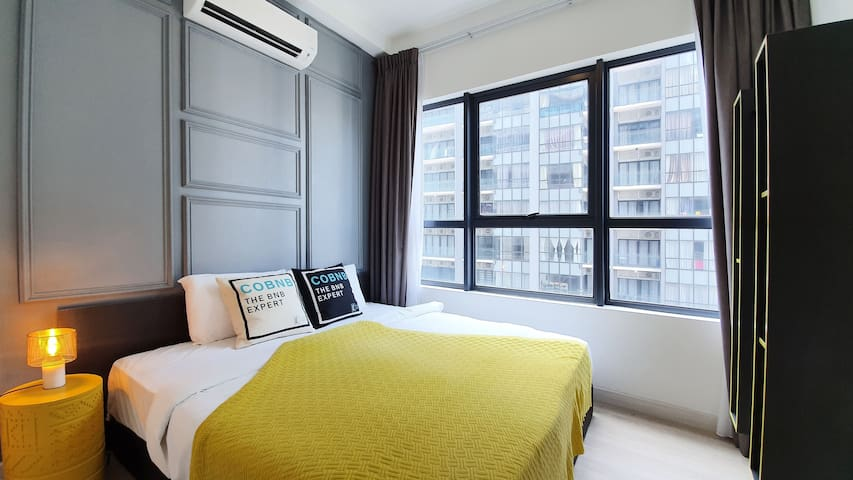 Master Bedroom with Window View which is available with blackout curtain, no worry for your sleeping quality.
