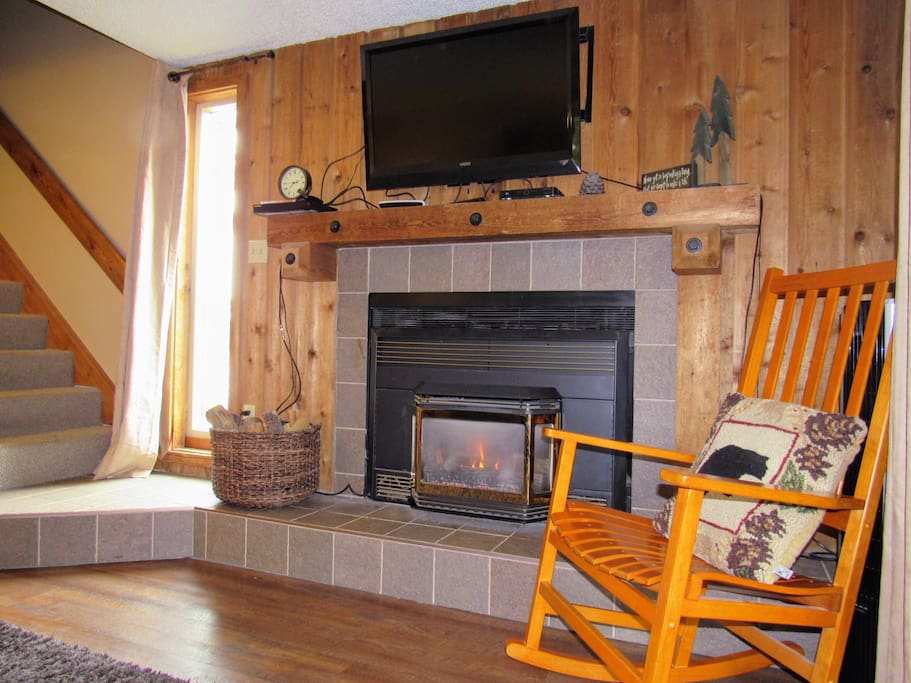 """Enjoy the warmth of a fire with just a simple touch of the thermostat. """"Joyce's townhome was decorated beautifully and was very clean."""" - Mary Beth"""