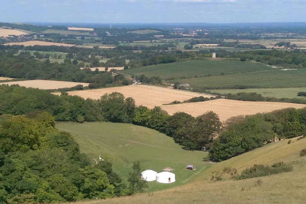 Aerial view of the site and stunning view, with just the 2 adjoining yurts
