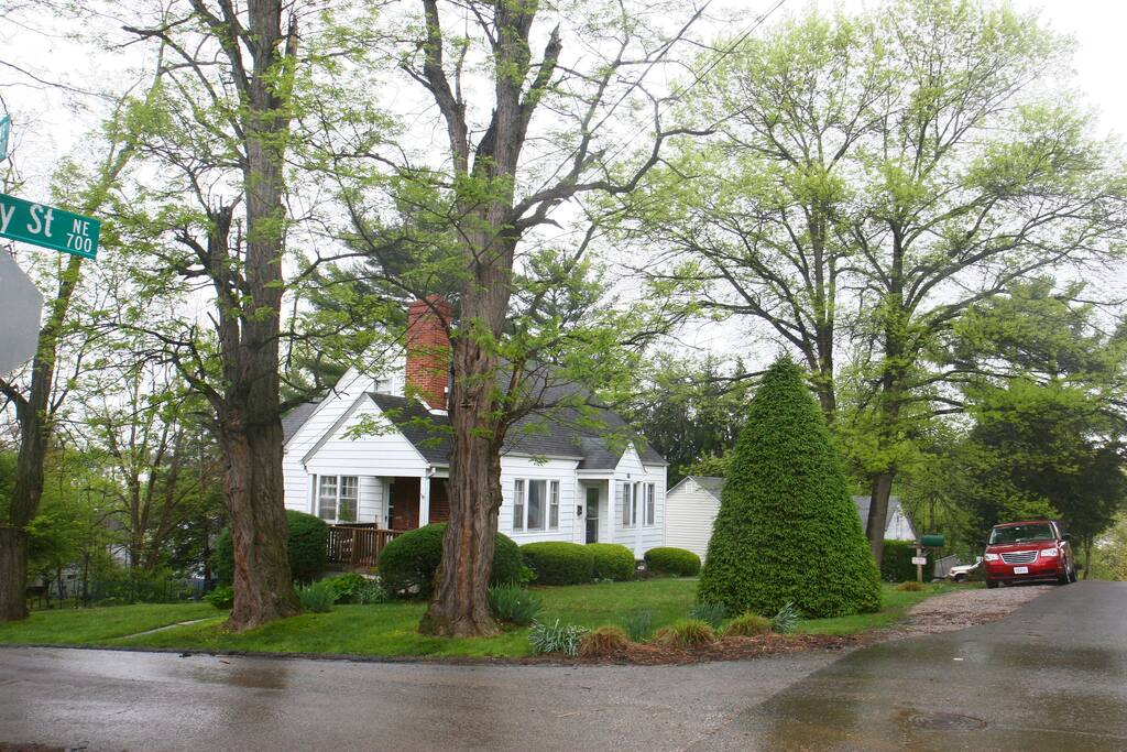 Mature trees and landscaping w/ plenty of parking.