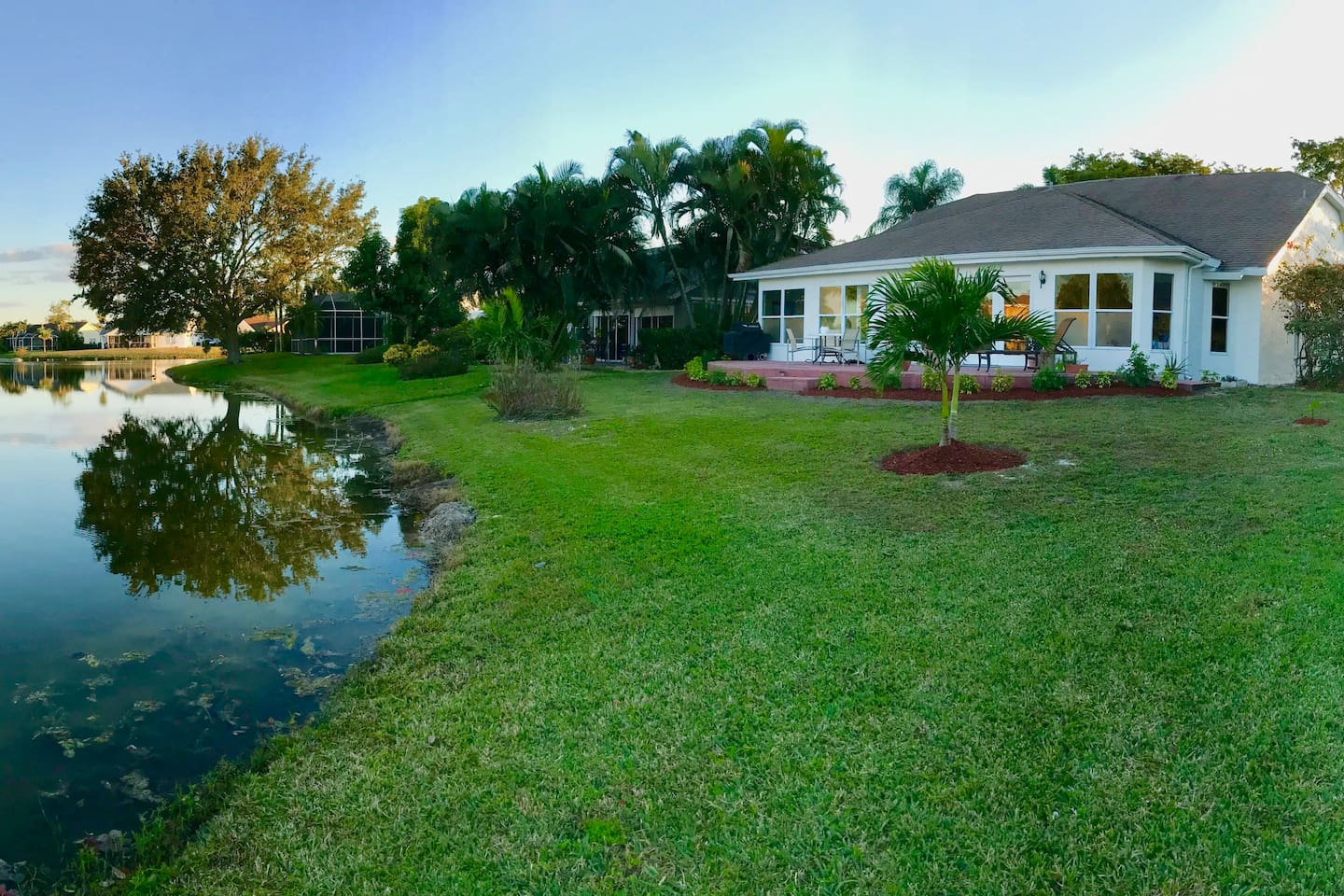 Lakefront, bird haven and palm trees reflections with spectacular sunrise view.  Newly landscaped with Florida flowers, bushes and palms.