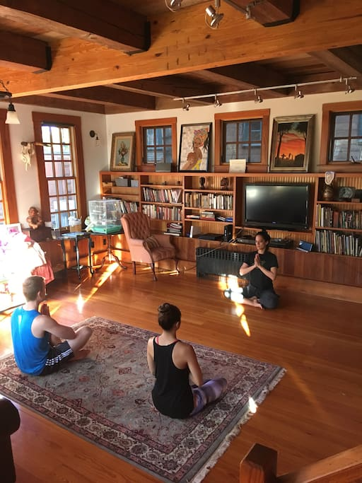 Yoga in the living room