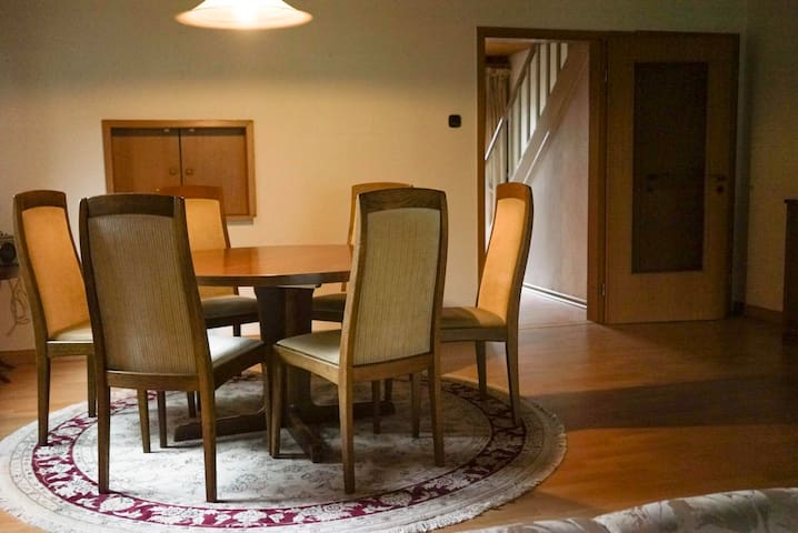 dining room with twice extendable table