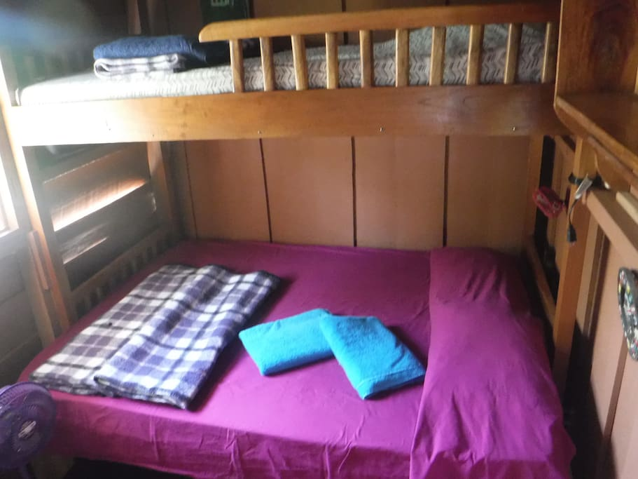 Room 2, double bed and single bed bunk-bed