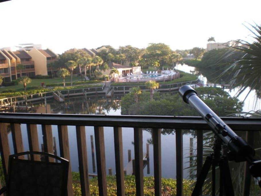 Spectacular eastern view from lanai of grounds and lagoon will brighten your morning
